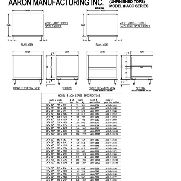 Open Cabinets (Unfinished Tops) ACO Series