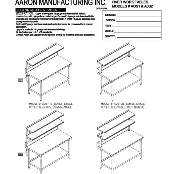 Upper Shelving Work Tables